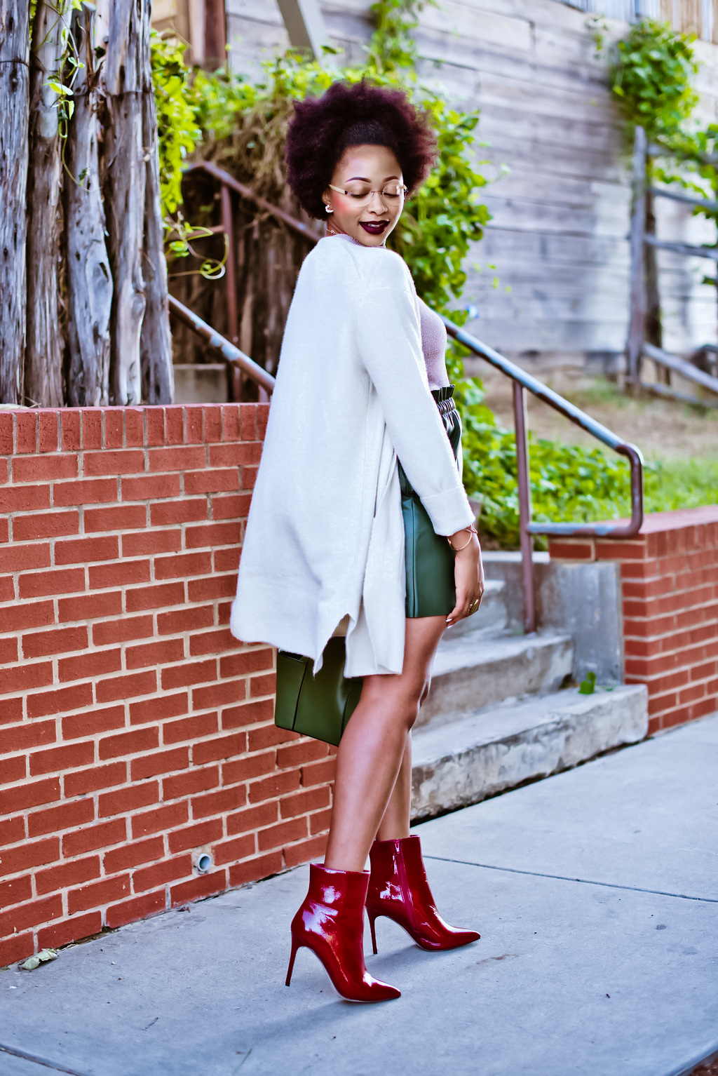 how to style Faux Patent Leather Ankle Boots