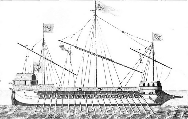 One of the Venetian Galleasses from A History of Naval Architecture (1851), after a 1570s painting