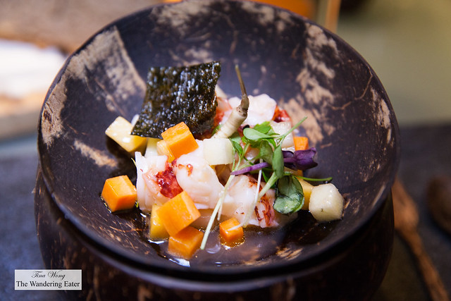 Rock lobster, apple, mango, carrots, baby parsnip, seaweed, yuzu dressing