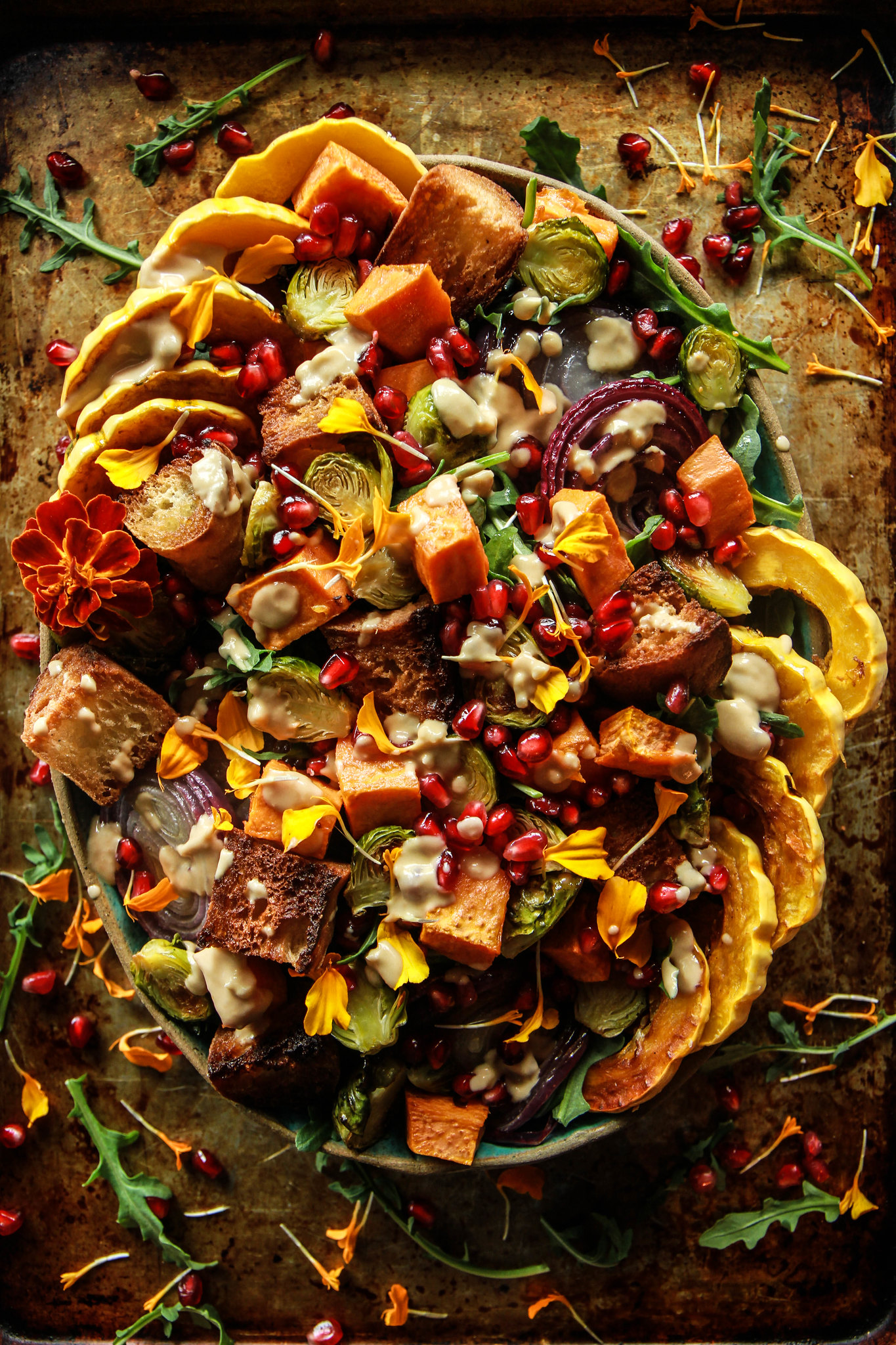 Autumn Panzanella Salad (Vegan and Gluten-Free0 from HeatherChristo.com