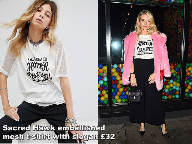 Sacred-Hawk-embellished-mesh-t-shirt-with-slogan, Skinnydip X MTV Launch Party in London, black wide leg trousers, white Sacred Hawk embellished mesh t-shirt with slogan, slogan tshirt, t-shirt, tee shirt, slogan tee shirt, black wide leg pant