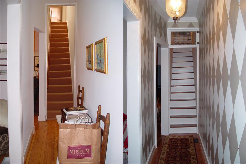 Before and After of our entry hallway with salvaged leaded glass transom & How To Install a Salvaged Door with Antique Hinges - Old Town Home