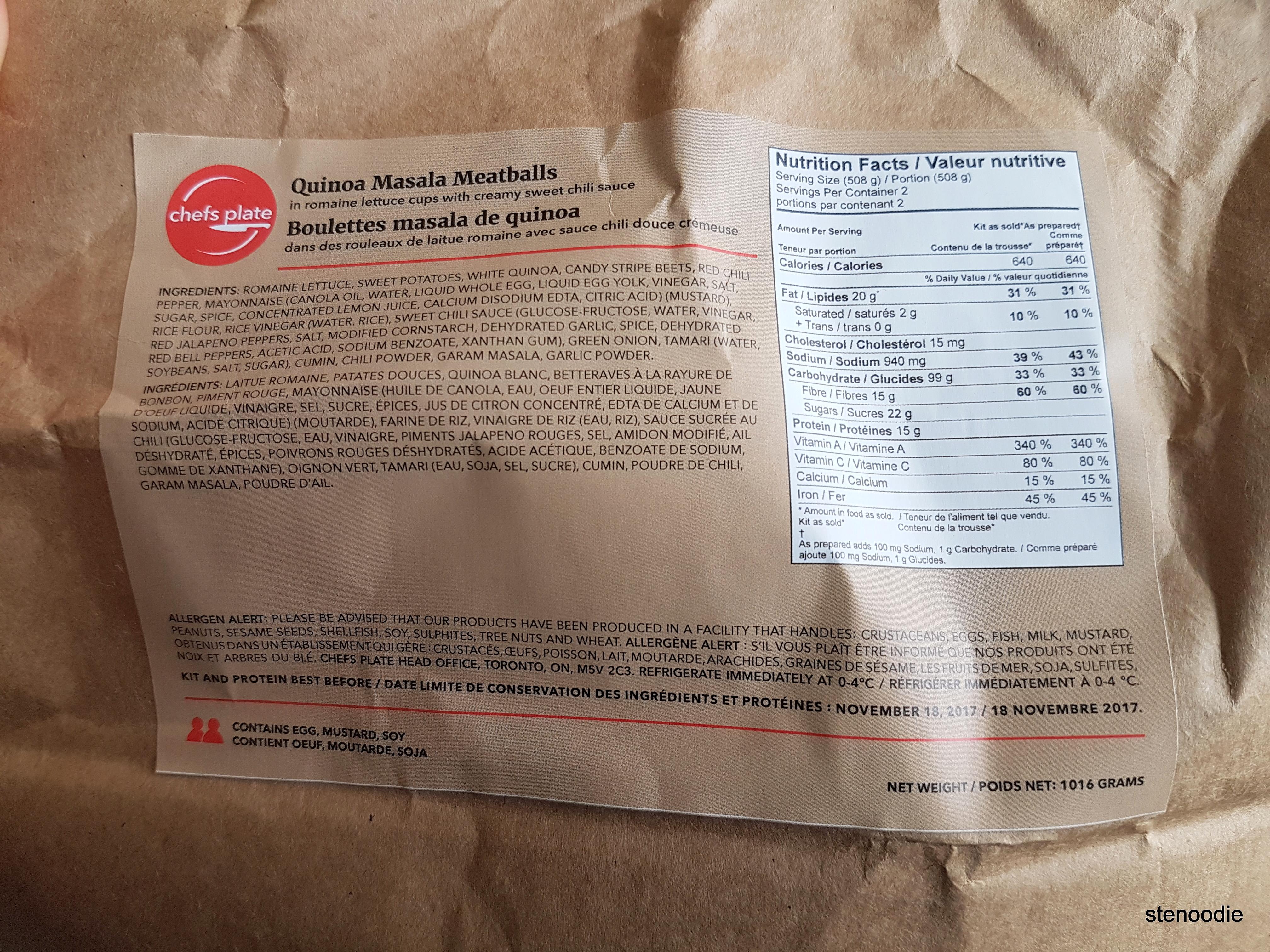 Quinoa Masala Meatballs nutrition information