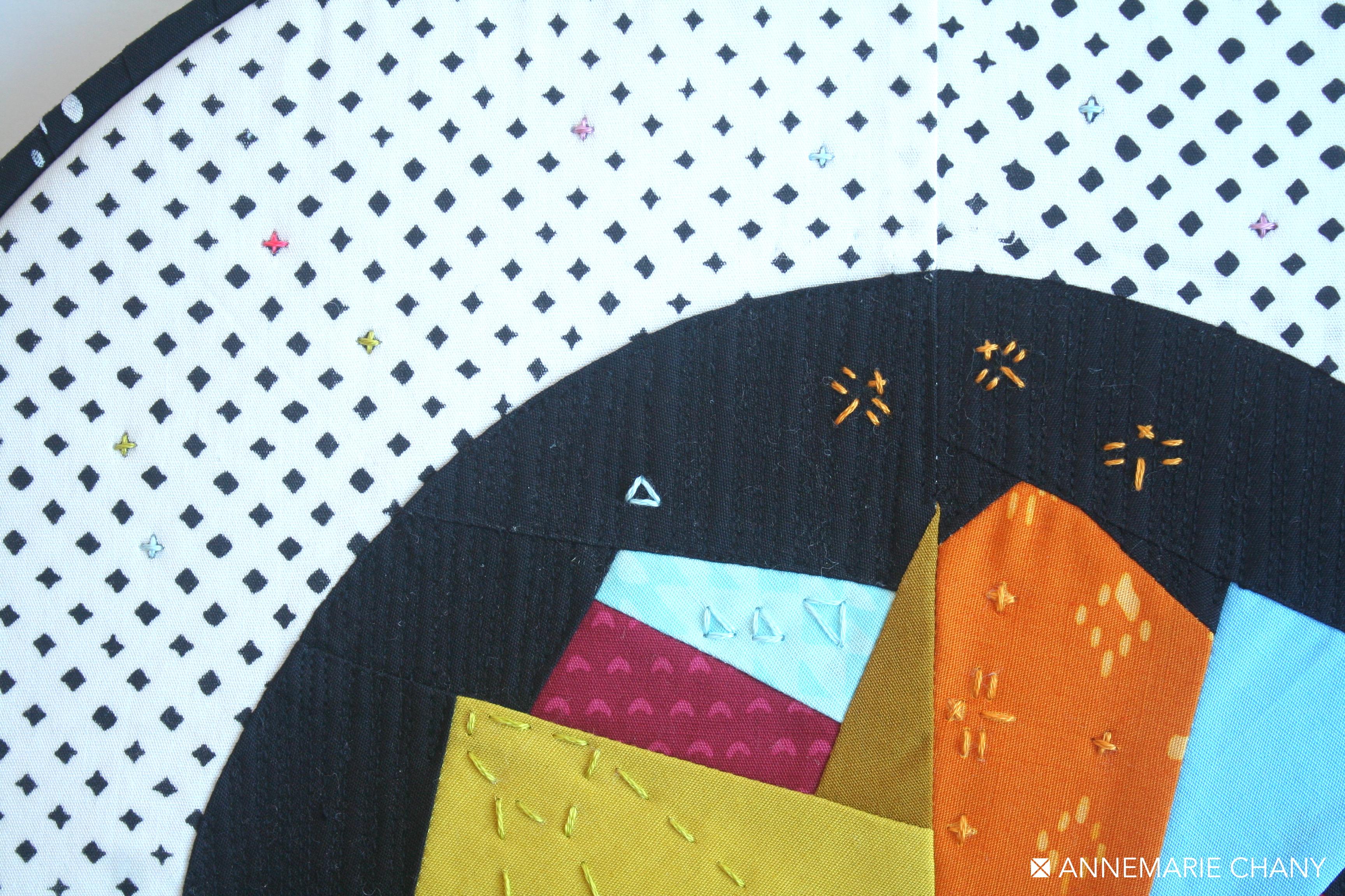 Hand Stitch Detail Improv Hoop