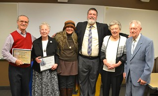 Fri, 12/08/2017 - 12:32 - The 2017 Orleans County residents honored for their efforts to preserve Orleans County history includes, left to right: Jim Hancock, Alice Zacher, Gretchen Sepik, Ken McPherson, and Shirley and Richard Nellist.