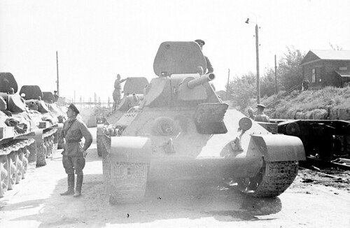 T-34-76 ready to head out to the front from the train station in Stalingrad tractor plantJuly 1942.