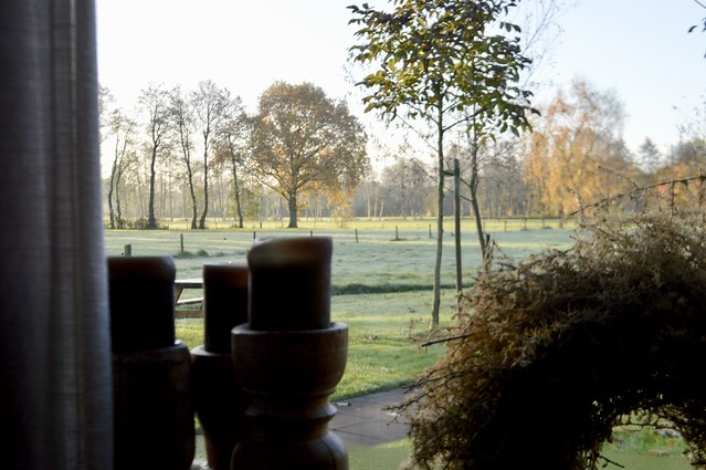 Kandelaren vensterbank uitzicht tuin