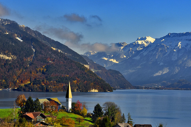 The Thunersee & the Kirche St. Columban , Faulensee at late autumn time.15.11.17, 13:35:25 . Izakigur No. 1026.