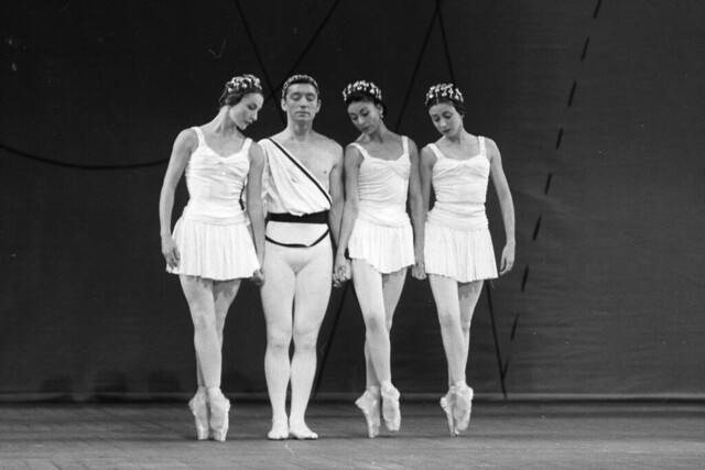 Anya Linden, David Blair, Margot Fonteyn and Annette Page in The Royal Ballet revival of Symphonic Variations. Photograph by Roger Wood. © Royal Opera House