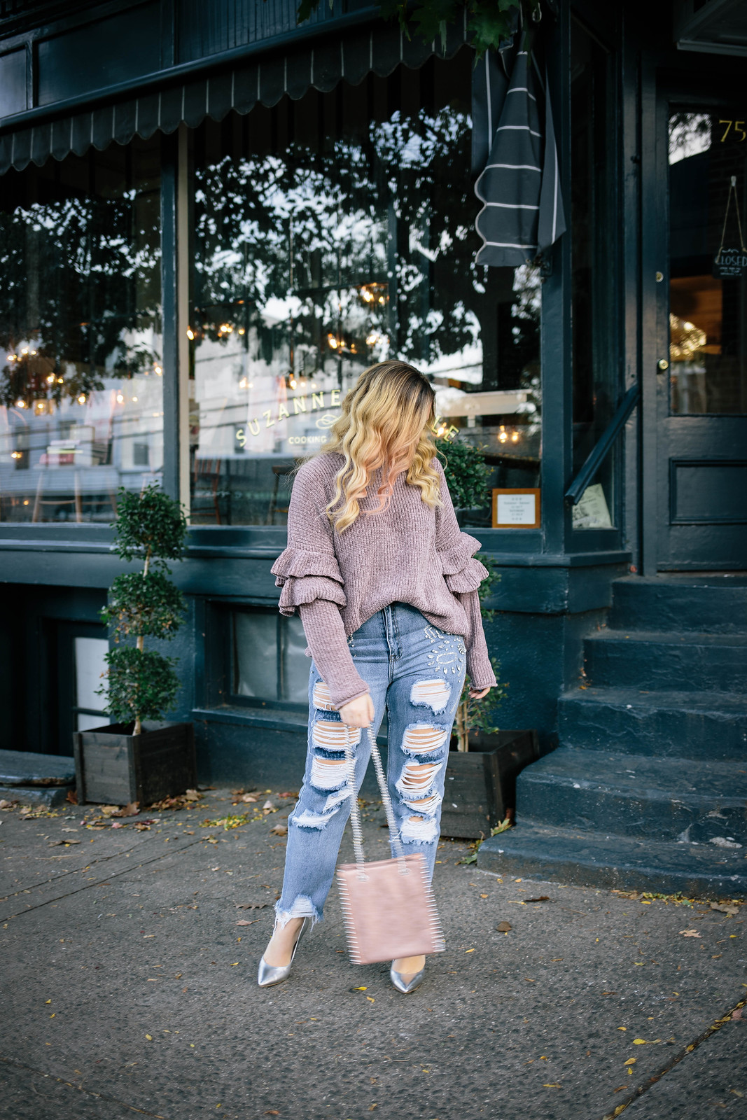 Blonde Pink Ombre Hair Purple Pastel Ruffle Sleeve Chenille Sweater Distressed Boyfriend Jeans