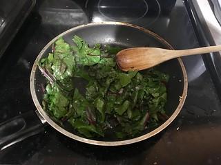 Sauteeing beet tops