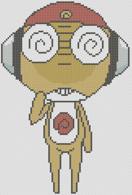 Preview of Keroro Gunso's Kururu: free anime cross stitch to print