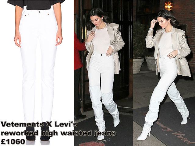 Vetements X Levi's reworked high waisted jeans, white jeans, white high waist jeans, white skin tight, winter white, white t-shirt, white over the knee boots, cream silk blazer,Vetements-X-Levi's-reworked-high-waisted-jeans