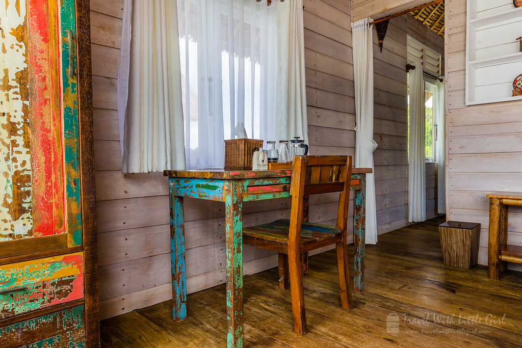 Old wooden furniture with a modern setup, Telunas Private Island
