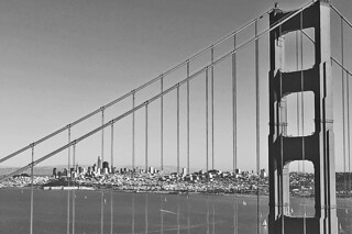 Golden Gate Bridge - Golden Gate Bridge Vista Point bw