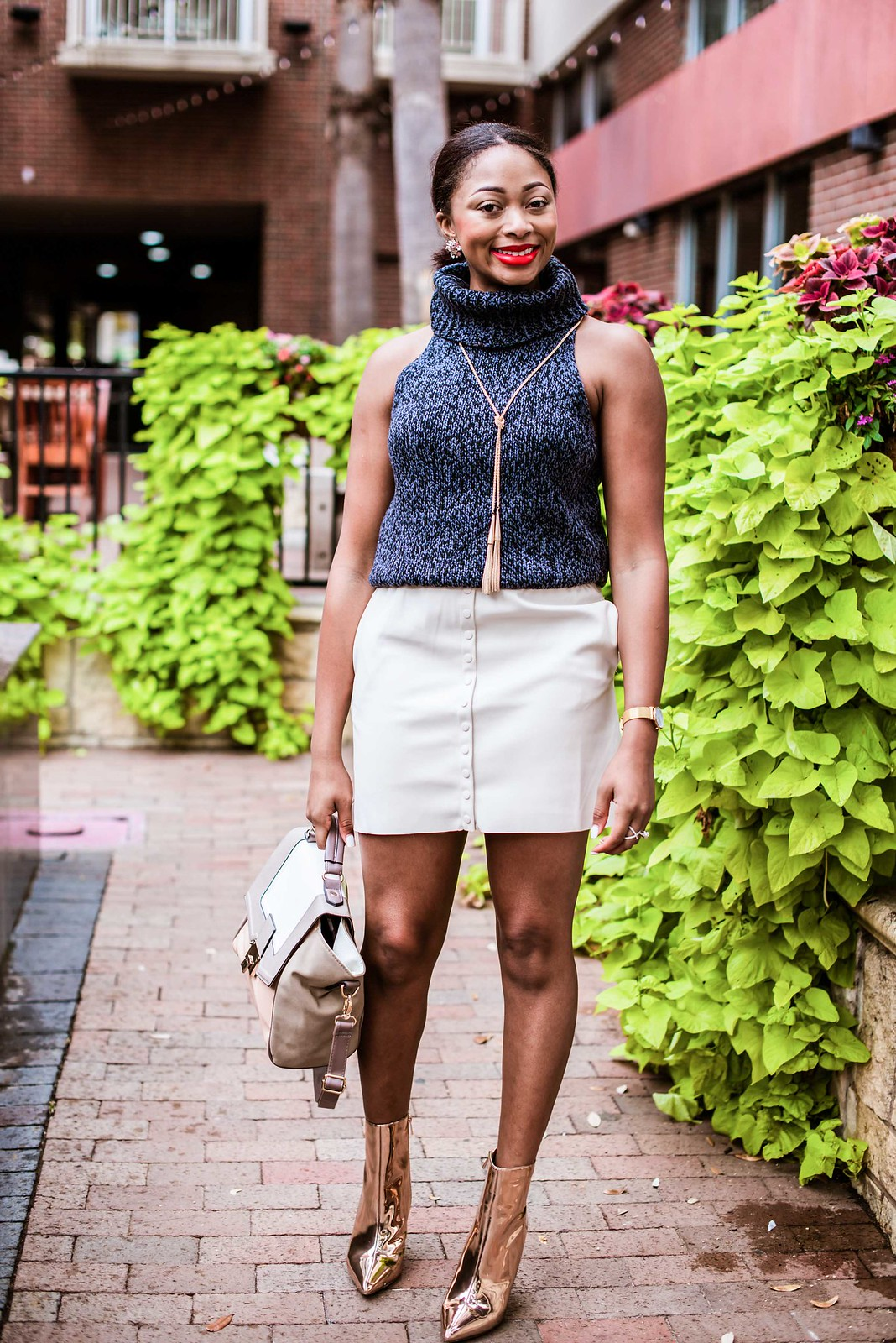 how to style booties with a skirt