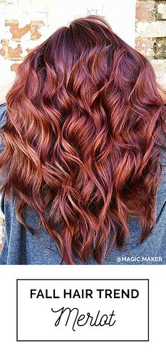 Hair Care : Merlot Hair Color! A fall hair color trend that embraces beautiful red, copper a...