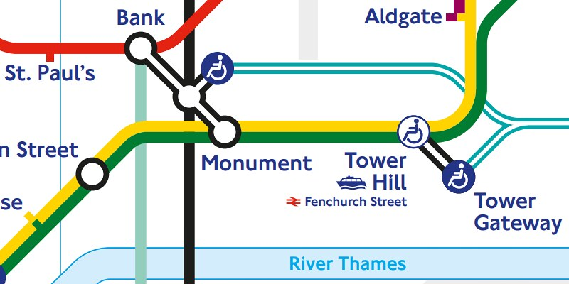 London Tube map showing station connections