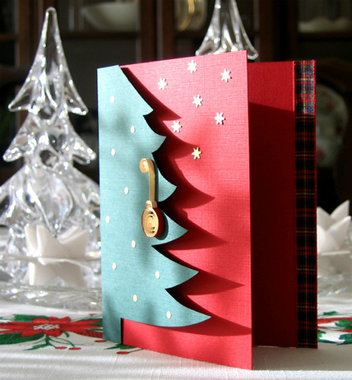 Quilled Christmas Card with Gilded Tree Ornament