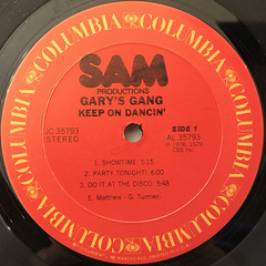 GARY'S GANG:KEEP ON DANCIN'(LABEL SIDE-A)
