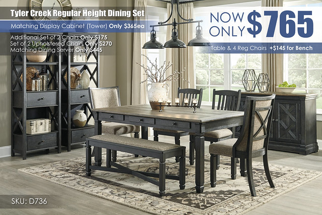 Tyler Creek Regular Dining Set D736-25-01(2)-02(2)-00-76(2)-60