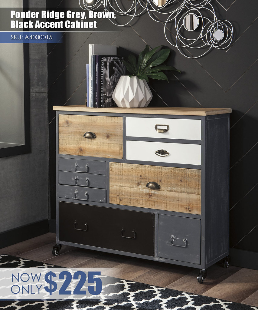 A4000015 - Ponder Ridge Grey, Brown, & Black Accent Cabinet $225