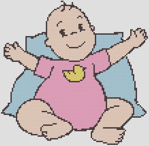 Preview of Baby Wants A Hug: free baby cross stitch patterns to print