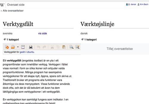Svensk Wikipedia - Oversätt Vertygsfält til Værktøjslinje