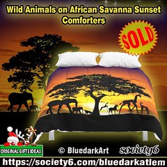 SOLD!  #Wild #Animals on #African #Savanna #Sunset #Comforters :arrow_right: https://goo.gl/BHj6iP  #Design by BluedarkArt - Society6 #Shop :arrow_right: https://society6.com/bluedarkatlem :tiger2:  Many Thanks to the Buyer!   25% OFF EVERYTHING TODAY! EN