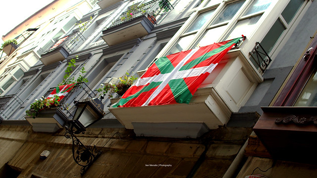 Basque Flag during the National Day of Basque Country 2017