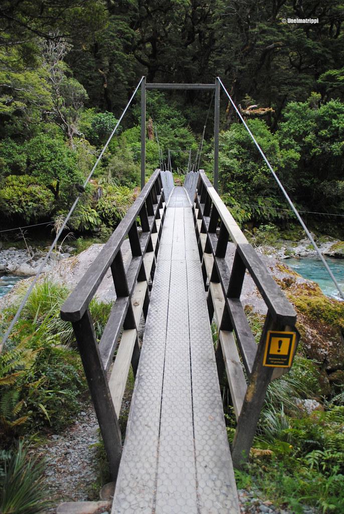 Silta Hollyford Roadilta lähtevälle vaelluspolulle, Milford Sound Highway, Uusi-Seelanti