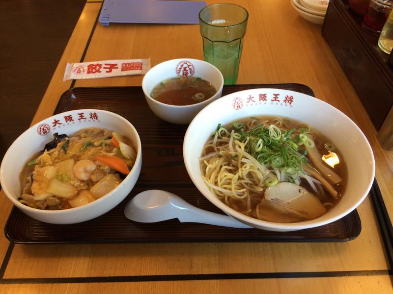 大阪王将のラーメンと中華飯