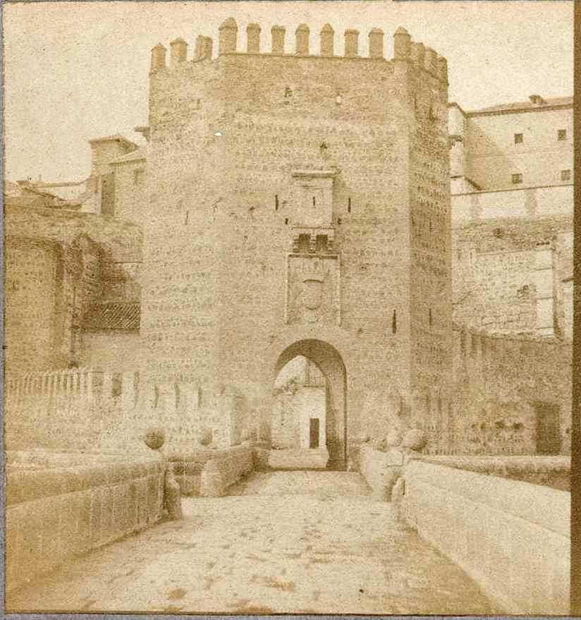 Puente de Alcántara hacia 1858 por Louis Léon Masson, Biblioteca Nacional