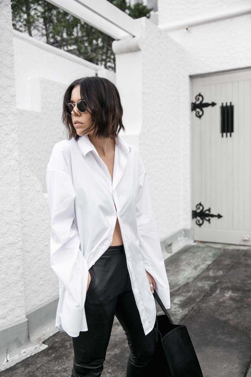 minimal monochrome fashion blogger bassike black leather pant givenchy logo tote stargate oversized white shirt blunt bob brunette Instagram (2 of 15)