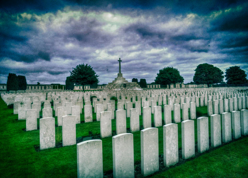 Tyne Cot cemetery, the largest cemetery for Commonwealth forces in the world, for WW1. The 'Cross of Sacrifice' can be seen in the background.