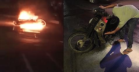 Châm lửa kiểm tra xăng giả hay thật, nam thanh niên tự tay đốt trụi xe.