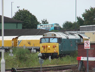 Class 50 locomotive 50008 at Derby with a rail grinding train