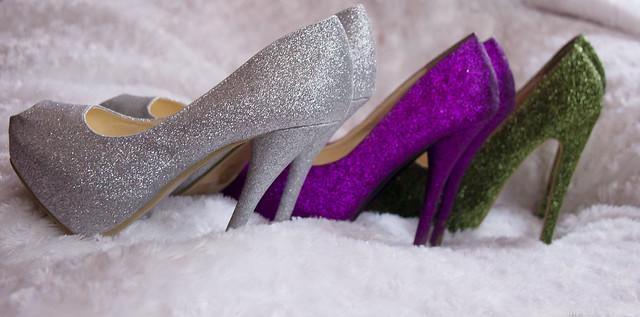 kimaltelevat korkokengät glitter shoes