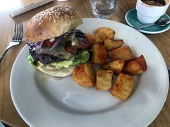 Great brunch burger at Acme & Co's HQ: Prefab Cafe, Wellington