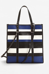 Zara stripe shopper bag blue