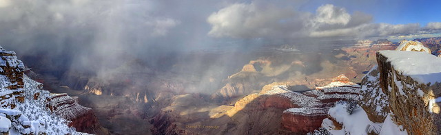 Mather Point panorama during snow