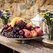 Autumn set of beautiful fruit composition on a wooden table