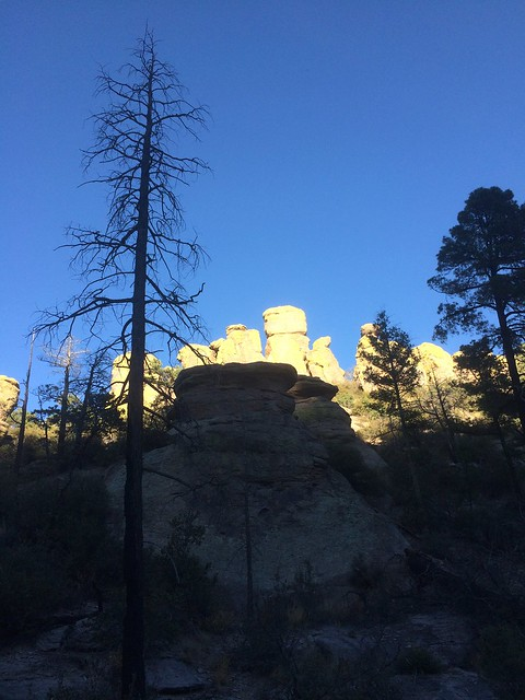 Chiricahua National Monument sun and hoodoo