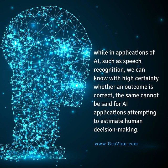 While in applications of AI, such as speech recognition, we can know with high certainty whether an outcome is correct, the same cannot be said for AI applications attempting to estimate human decision-making. Source: http://amp.weforum.org/agenda/2017/10