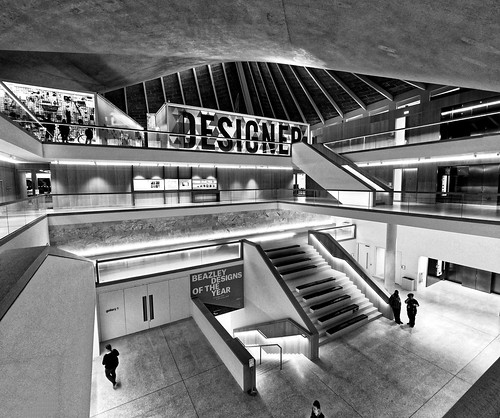 Black and White interior of the Design Museum