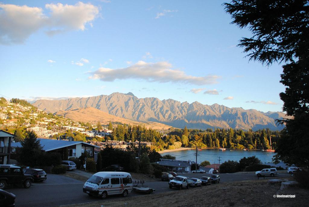 Näkymä leirintäalueelta keskustaan, Queenstown, Uusi-Seelanti