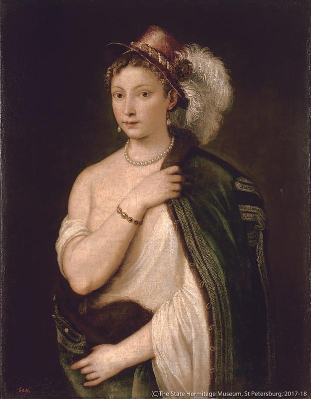 ティツィアーノ・ヴェチェッリオ《羽飾りのある帽子をかぶった若い女性の肖像》(1538年)エルミタージュ美術館所蔵