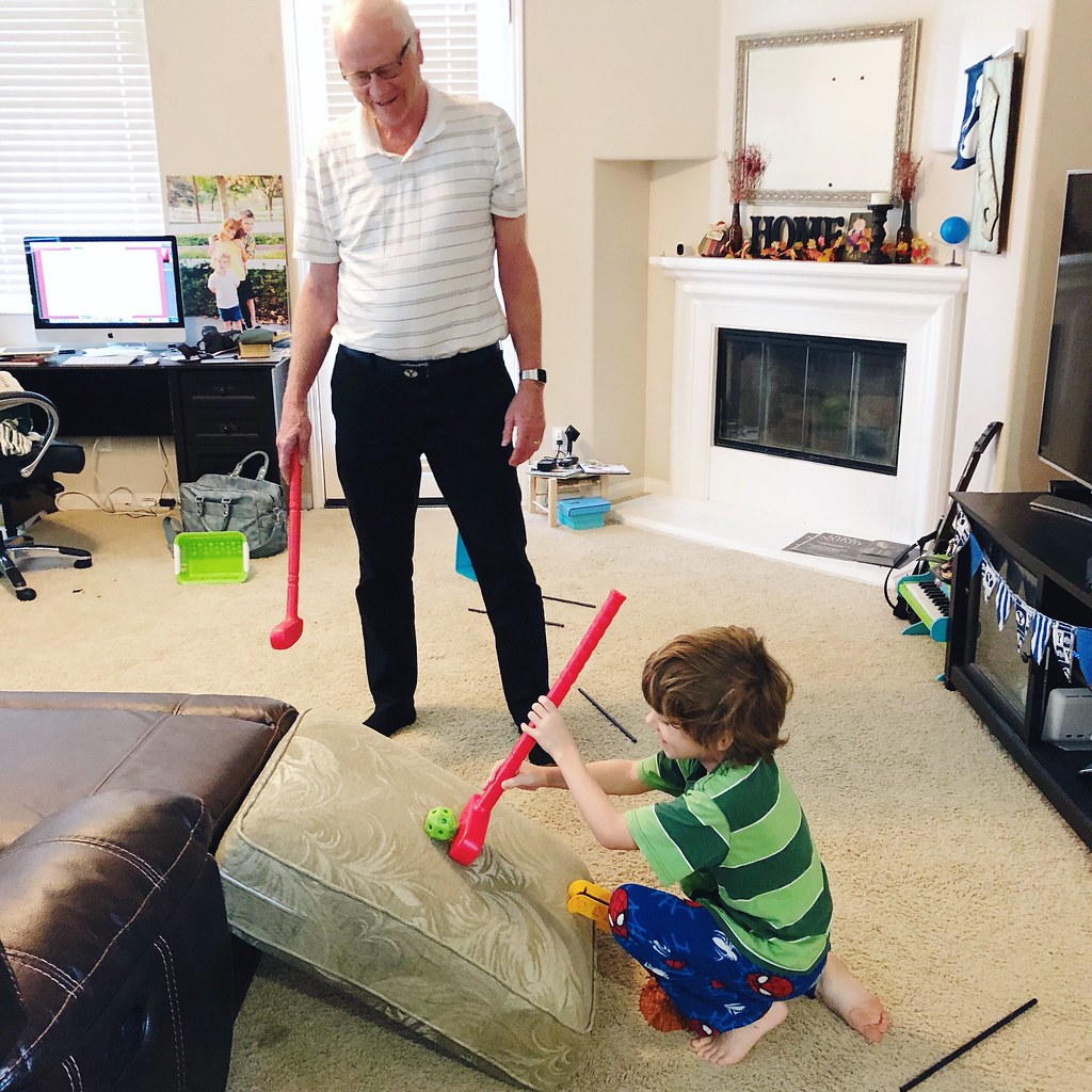 playing gold with grandpa