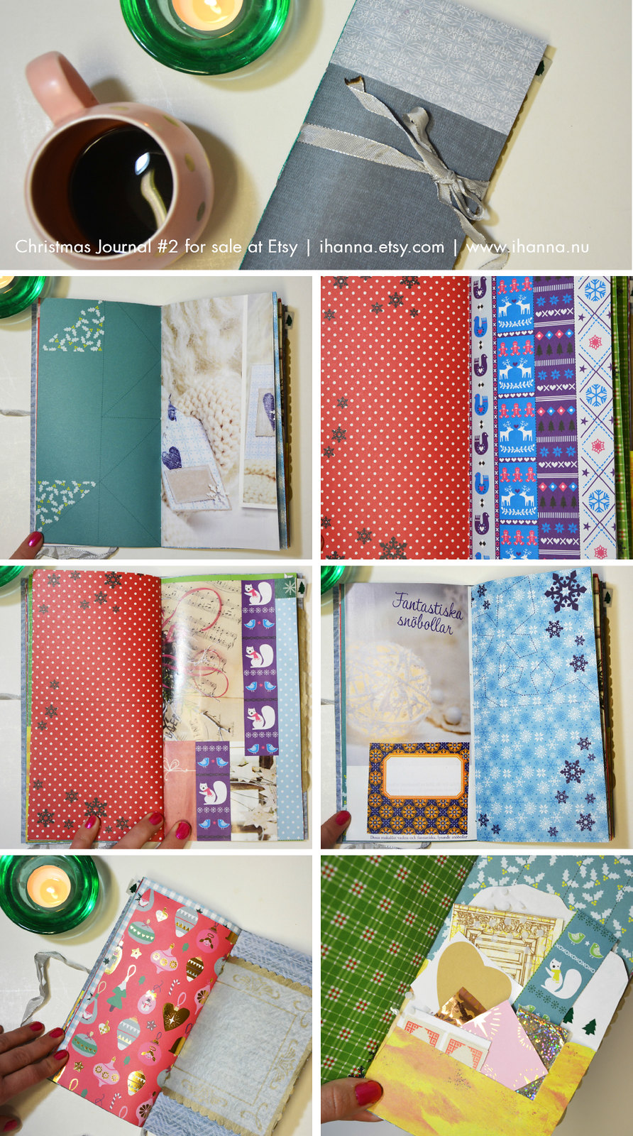 Spread in Christmas Junk Journal no 2 hand made by iHanna and now sold #christmasjournal