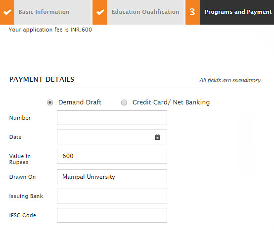 Manipal Application fee